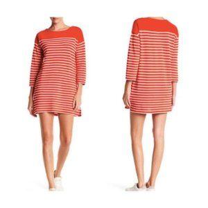 J.Crew Orange Red Striped Boatneck Tunic Size M